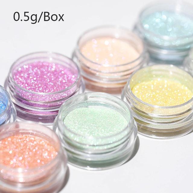 0.5g/box Chameleon Nail Glitter Powder Shining Glitters Mirror Effect Pigment Dust Colorful Nail Art Decorations Manicure DIY