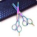 Волосы ножницы комплект горячая распродажа стрижка ножницами фиолетовый титана 6.0 дюймов высокое качество волос разжижения при сдвиге бесплатная доставка