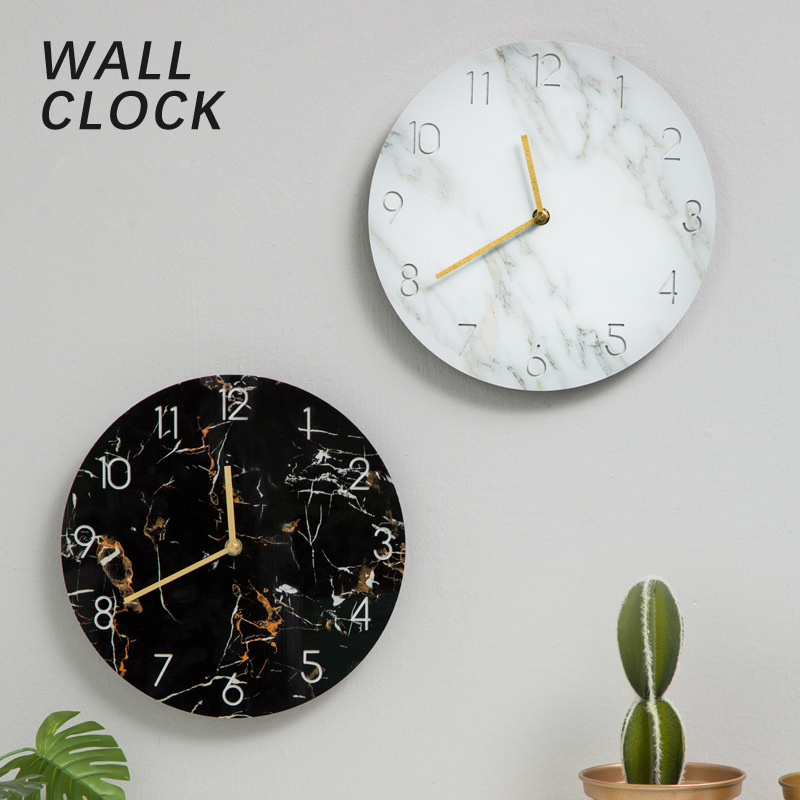 Wall Clock Modern Design UV Board Material Marbled Road Decoration Home Decoration Coffee Shop Wall Art Hanging Ornament