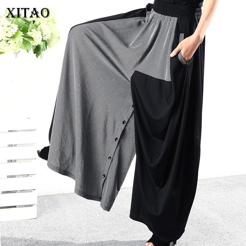 [XITAO] Spring Summer 2019 Women New Arrival Casual Loose Fashion Elastic Waist Patchwork Pleated   Wide     Leg     Pants   WBB3111