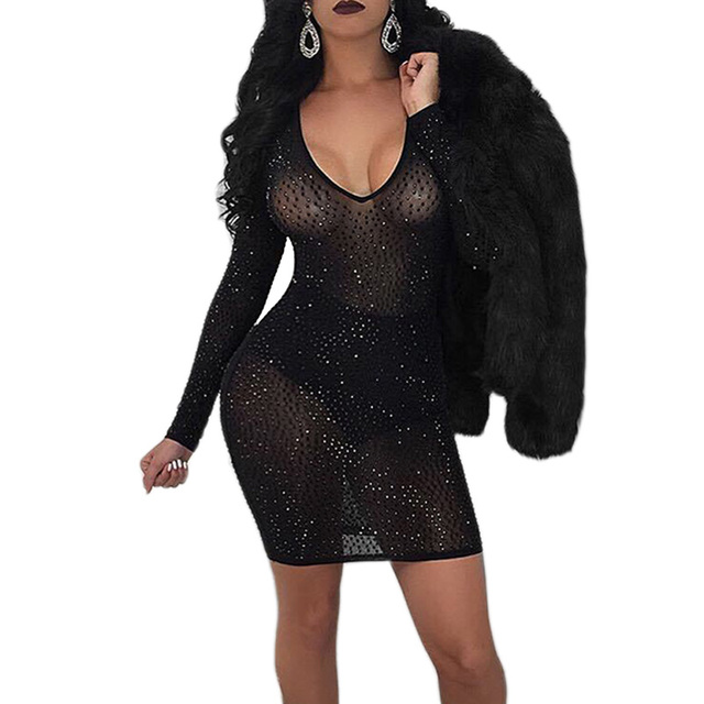 Womens Sexy Night Club Party Dresses V-Neck Rhinestone Long Sleeve Bodycon  Dress Black Sheer Mesh Mini Dress Vestidos Femininos 9e8f0a86306a