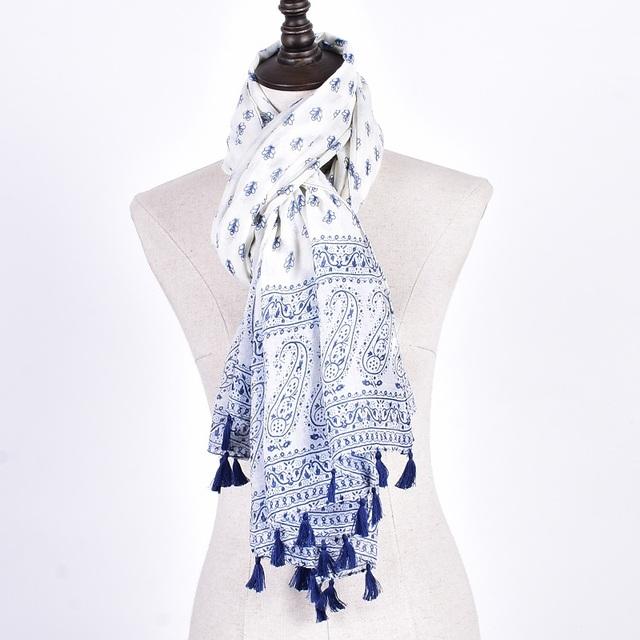 Blue White Paisley Scarves | Shawl & Wraps