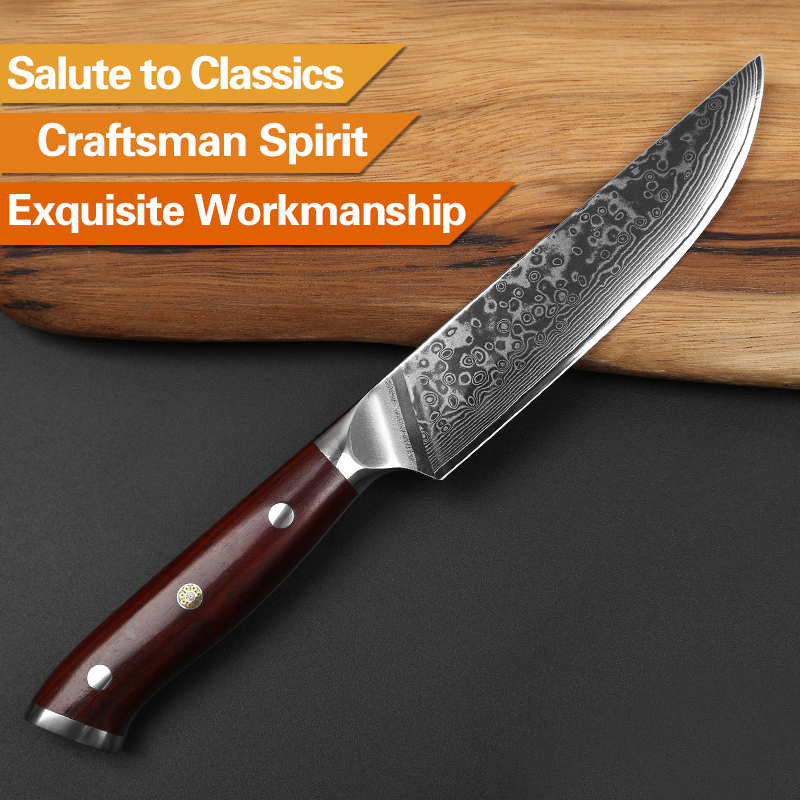XINZUO 5'' inch Steak Knife High Carbon Japanses Damascus Stainless Steel with Rosewood Handle Superior Quality BBQ Kitchen Tool