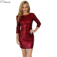 2015 New Summer Style Womens O Neck Long Sleeve Pailllette Sequins Backless Bodycon Slim Pencil Dress