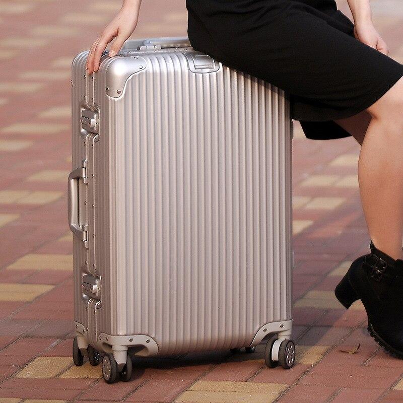 20/24/29 inches aluminum luggage universal wheel travel whole aluminum metal luggage check-in luggage bags 010