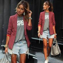 2018 Summer new red long sleeved lapel plaid small suit female blazers