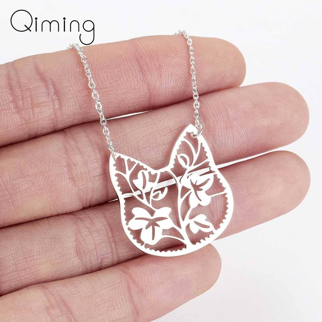 Silver Cat Cute Chain Necklace Female Women's Lovely Jewelry Brach Leave Pendant Animal Necklace Girlfriend Gift Accessories