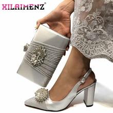 De prata de Alta Qualidade Mulher Sapatos E Bolsa Set Para Festa Italiana de Luxo Cristal Strass Sapatos De Salto Alto Sapatos de Casamento E Saco conjunto