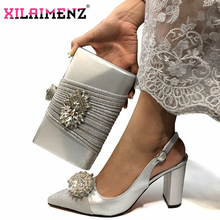 Silver High Quality Woman Luxury Crystal Shoes And Purse Set For Party Italian Rhinestone High Heels Wedding Shoes And Bag Set