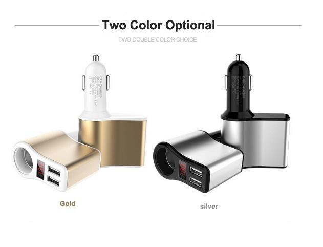 Multi-función de cargador de coche uno a tres agujero Dual USB con pantalla Digital cargador de coche 12 V-24 V DC a 5 V