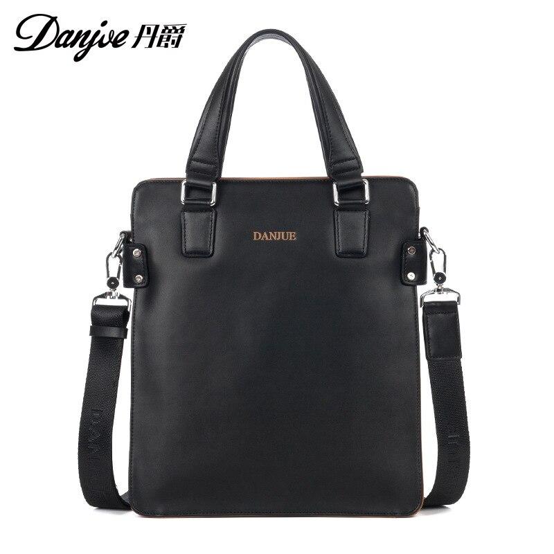 все цены на DANJUE New Arrival Men Bag High Quality Leather Male Shoulder Vertical DailyBag Genuine Leather Handbag Male Business Messenger