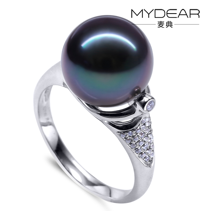 MYDEAR Unique Designs 9K White Gold Tahitian Pearl Ring with Diamonds ...