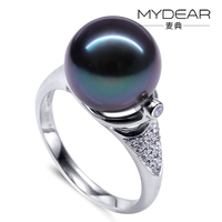 MYDEAR Unique Designs 9K White Gold Tahitian Pearl Ring with Diamonds