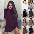 2017 European and American sexy turtle neck long sleeve sweater dress