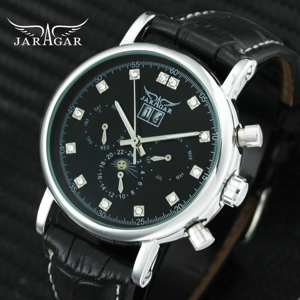 цена на JARAGAR Top Brand Luxury Auto Mechanical Watch Men Leather Strap Sun Moon Display Crystal Sub-dials Calendar Wristwatches Man