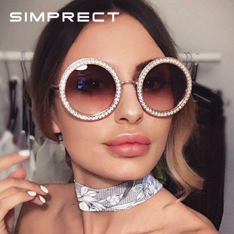 e43c9f881da7c SIMPRECT De ronda De gafas De sol De las mujeres 2019 Retro De lujo del  diamante De gafas De sol De moda