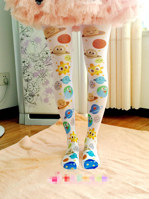 Princess sweet lolita pantyhose  Department of soft sister cute LOLITA printed cartoon star pantyhose LKW207