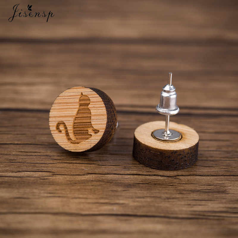 Jisensp 小型巧妙な猫木製イヤリング女性シンプルなかわいい動物スタッドピアスジュエリーギフトブークレ毛糸 · ダ · ペンドオレイル 2019