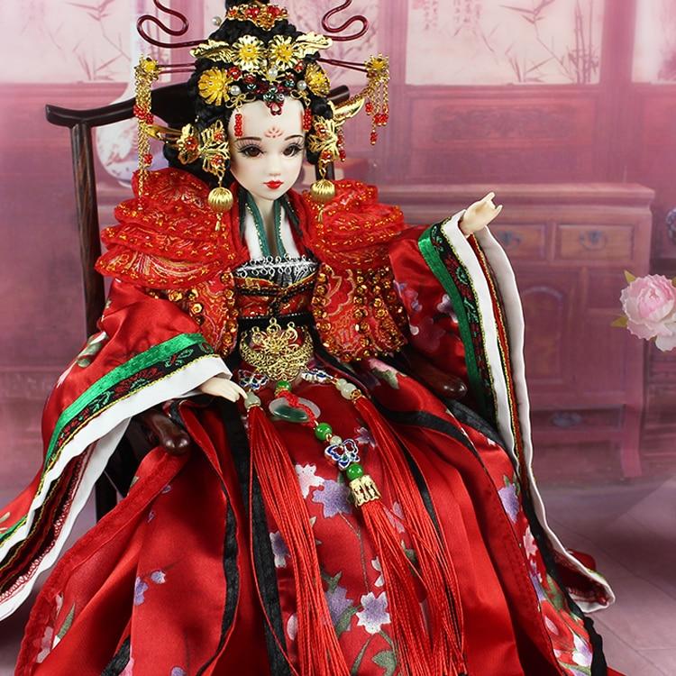 35 см Коллекционная Китайский Куклы императрица Ву цзэтянь кукла с 12 разъемы подвижные 3D реалистичные Средства ухода для век довольно BJD Кук