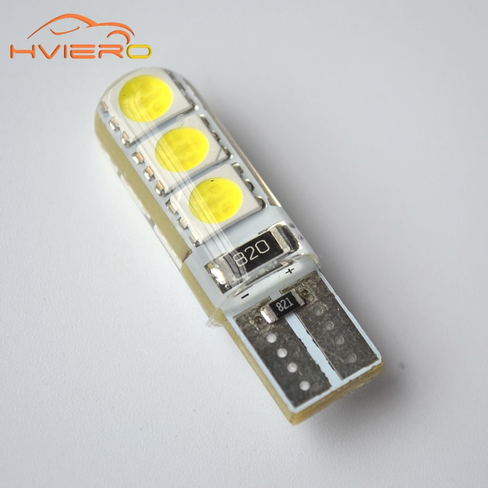Car LED 1PCS T10 194 W5W DC 12V Canbus 6SMD 5050 Silicone shell LED Lights Bulb No Error Led Parking Fog light Auto Car styling