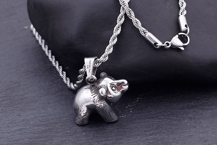 Hip Hop Stainless Steel Animal Bear Pendant Necklaces For Men Masculine Chubby Bear Chain Necklace Homme Punk Jewelry 60cm