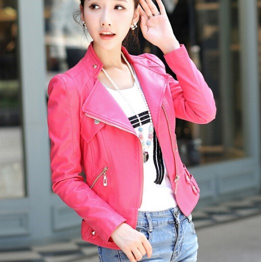 Women's Pu   Leather   Motorcycle Biker Jacket Pink Black Coat   Leather   Women Oblique Zipper Short Outerwear Hip Hop Womens