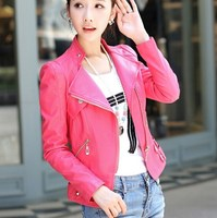 Women's Pu Leather Motorcycle Biker Jacket Pink Black Coat Leather Women Oblique Zipper Short Outerwear Hip Hop Womens