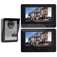 DIYSECUR 7 pulgadas Teléfono Video de La Puerta de Intercomunicación de Vídeo Timbre de la Puerta 1 Cámara 2 Monitores 800×480 Negro
