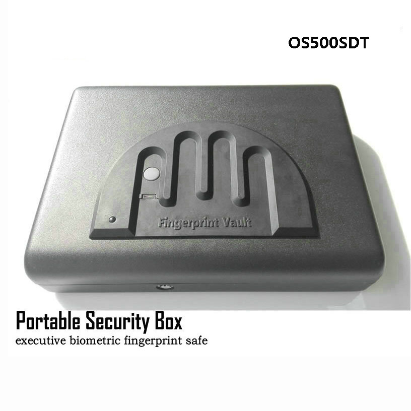 Portable Fingerprint Safe Box Solid Steel Security Key Lock Safes For Money Valuables Jewelry Pistol Box Mini Car Safe OS500SDT free shipping mini portable steel petty lock cash safe box for home school office market lockable coin security box