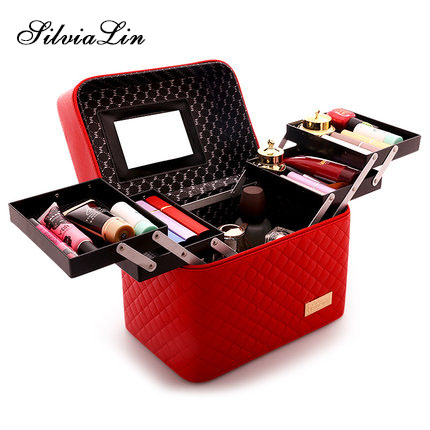 Women Large Capacity Professional Makeup Organizer Fashion Toiletry Cosmetic Bag Multilayer Storage Box Portable Pretty Suitcase 4pcs 13368131 13242365 100% original parking pdc ultrasonic sensor for opel cruze oe 0263013679 genuine