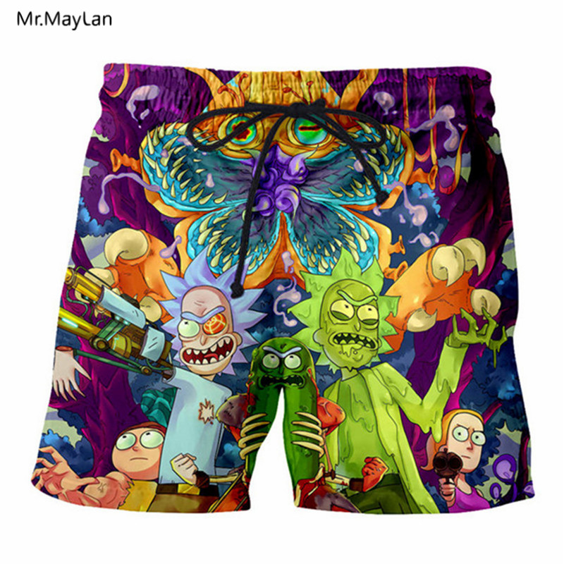Men Board Shorts 3D Print Cartoon Ricky and Morty 2018 Summer Fashion Mens Beach Shorts Black Trousers Plus Size 6XL Quick Dry
