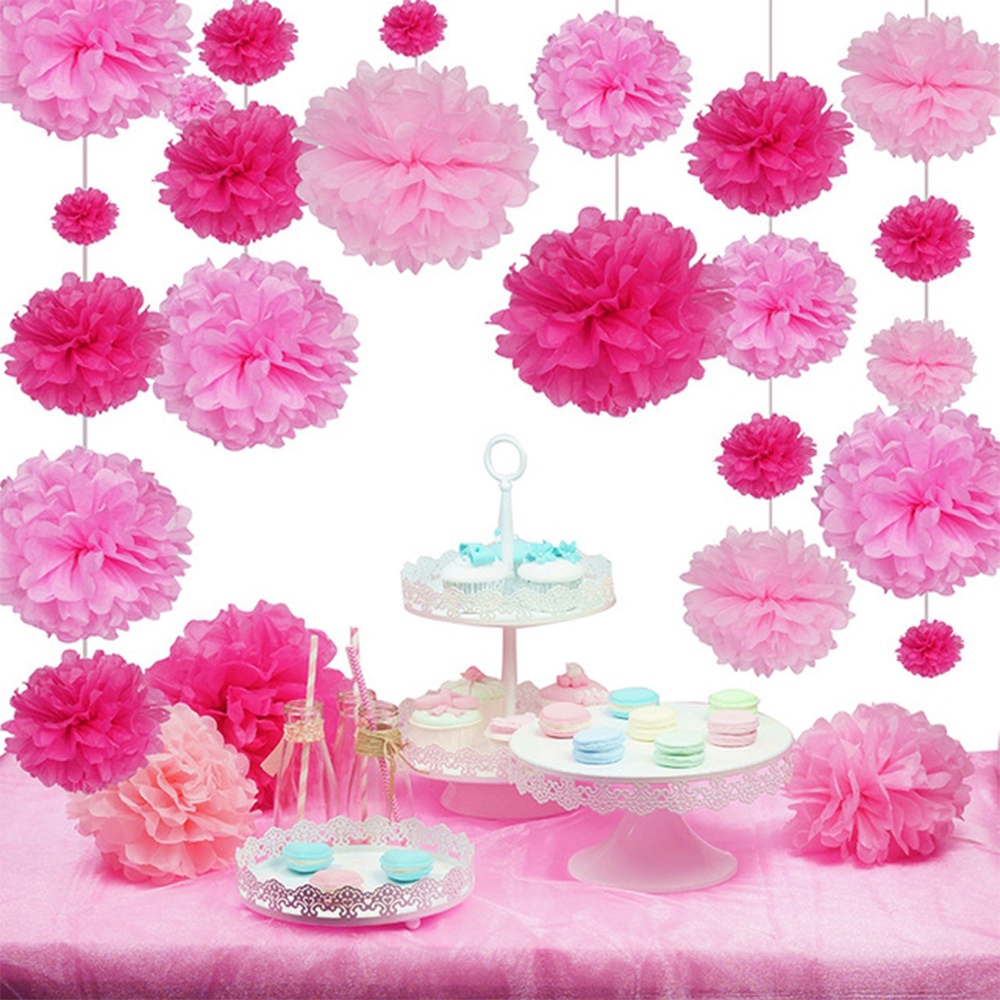 Set of 27 Pink Tissue Paper Pom Poms Flower Ball Wedding Decoration Table Birthday Party Shower Supplies Kids