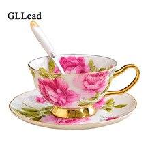 Saucer-Sets China Teacup Porcelain Tea-Cup Ceramic Rose-Flower-Design European Gift And