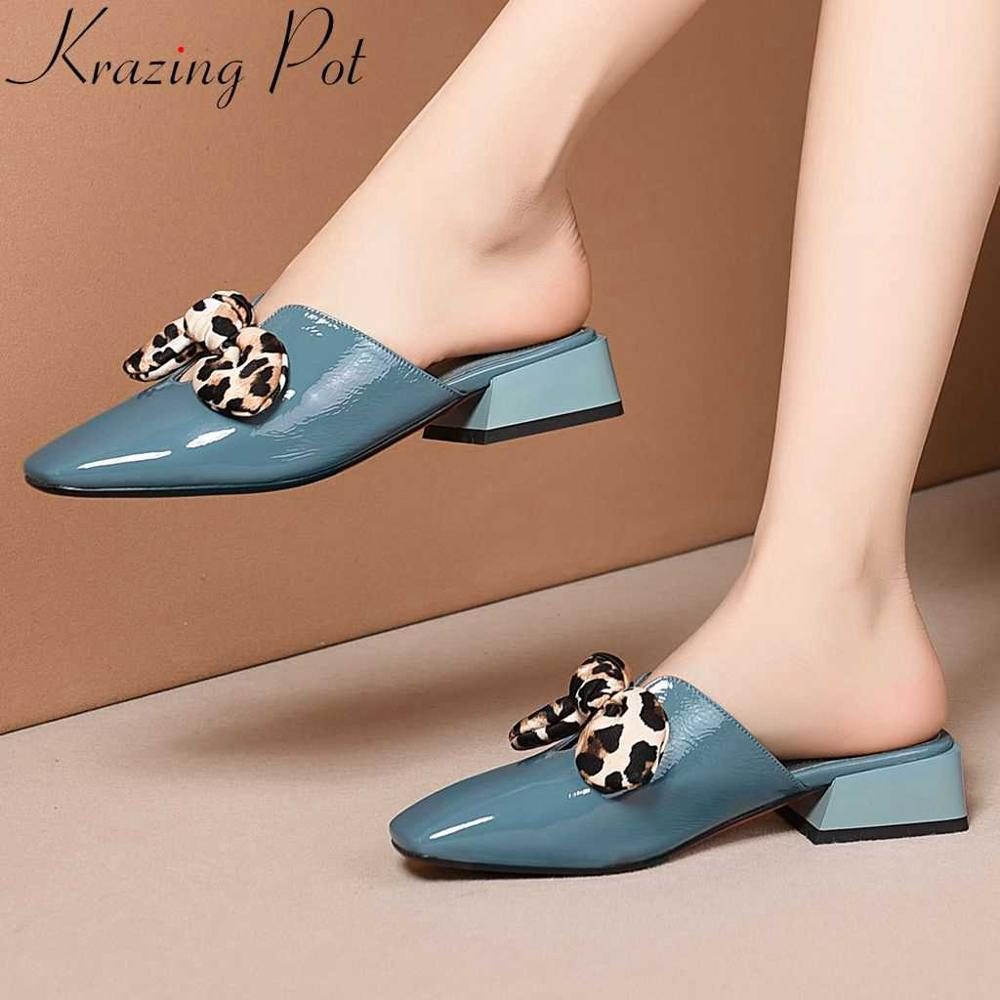 Krazing pot big size movie stars leopard butterfly-knot decoration natural leather slip on mules low heels square toe pumps L9f1Krazing pot big size movie stars leopard butterfly-knot decoration natural leather slip on mules low heels square toe pumps L9f1