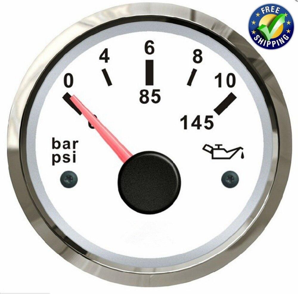 цена на 1pc 52mm Pointer Type Engine Oil Pressure Gauge Modification 0-10Bar Oil Pressure Meter 12v/24v Fuel Pressure Gauge for Car Boat