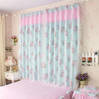 Sunny Pastoral Curtains Double Layers Cloth Curtain Voile Curtain Bedroom Semi Light Shading Princess Lace Home