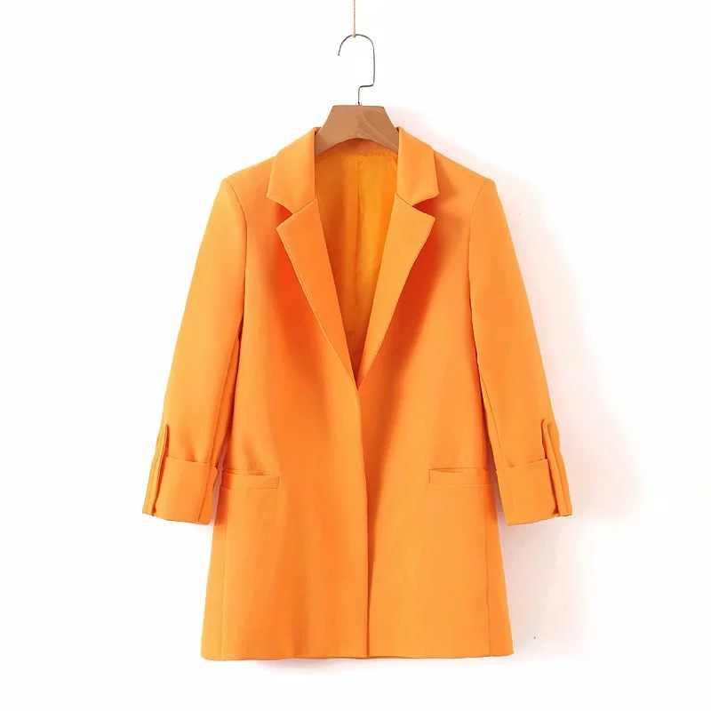 女性のスーツ 2019 新秋高品質野生カジュアル orange 長袖のスーツのジャケットカジュアルなズボンセット 2 の
