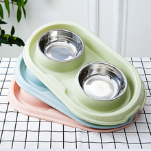 Double Dog Bowl High Quality Stainless Steel Pet Feeder Cats Universal Feeding And Water Pets Supplies Dishes