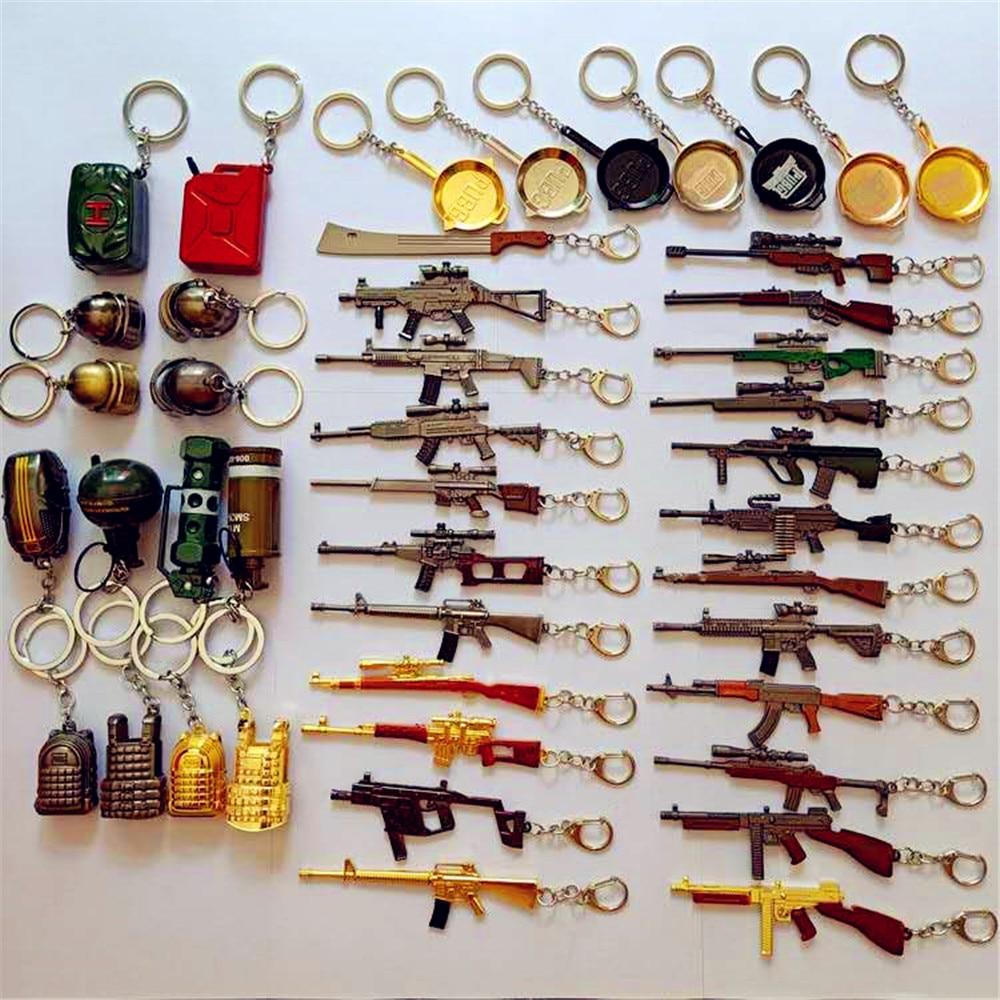 24Styles PUBG CS GO Weapon Keychains AK47 Gun Model 98K Sniper Rifle Key Chain Ring For Men Gifts Souvenirs 6CM  2018 Hot Game