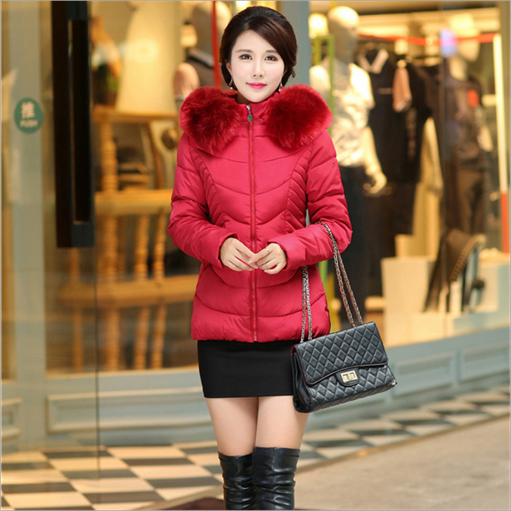2017 new winter coat female long section cultivating long sleeved wool collar down font b jacket