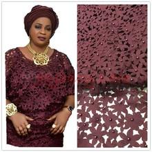 Африканский кружево Ткань 5yds/pce компанией dhl лазерная резка с камнями для женщин платья вечеринок Новое поступление 2017 года высокое Кач