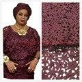 Tessuto africano del merletto 5yds/pce da dhl tagliato al laser con le pietre per le donne vestiti da partito 2017 nuovo arrivo di alta qualità nigeriano tessuti