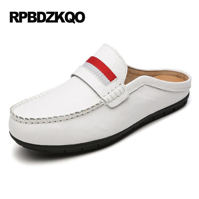 Popular Breathable Comfort Slip On White Casual Brown Shoes Mules Summer Blue Half Moccasins Black Loafers Hot Sale Fashion black real leather 2017 mules summer brown european loafers men genuine shoes moccasins half male casual slip ons hot sale
