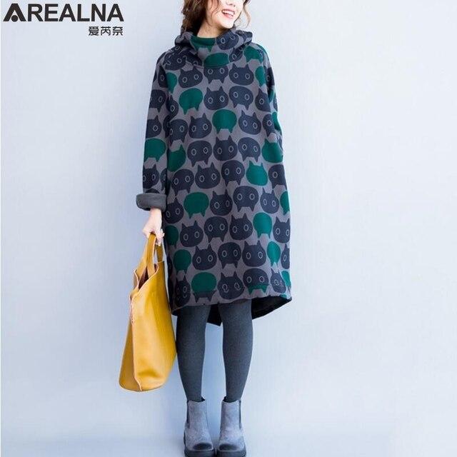 f7d101b5aa624 women hoodies sweatshirts Winter sweatshirt women Thicken Warm Cotton Print  Cat Casual Turtleneck Plus Size long