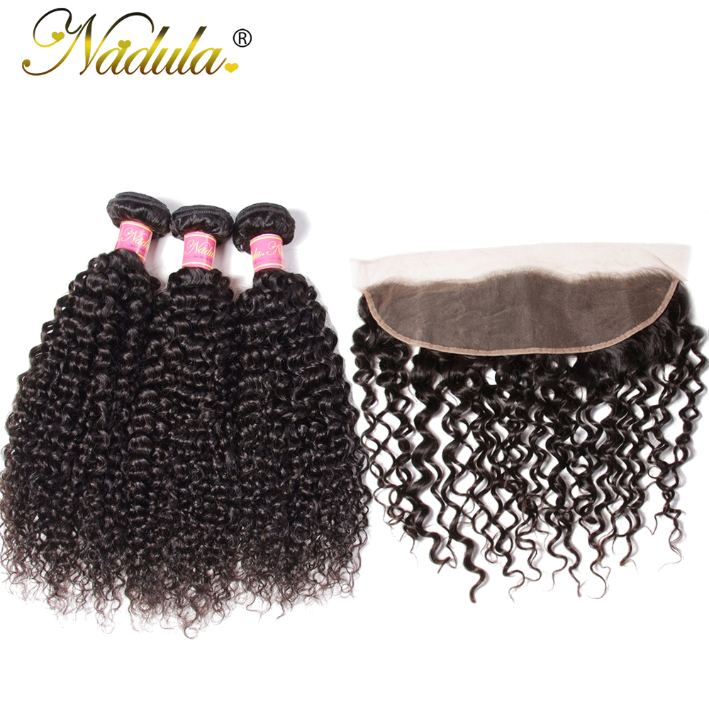 Nadula Hair Malaysian Curly Hair With Frontal 13 4 Lace Frontal With 3 Bundles Human Hair