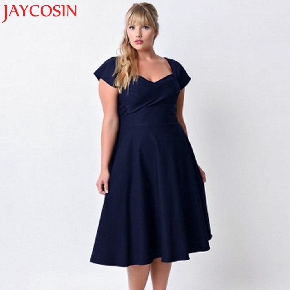 JAYCOSIN Solid V Neck Formal Dresses Big Sizes Evening Party Swing Dress Plus Size Women Clothing Orange,Navy JAN 19