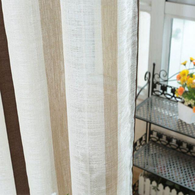 Moderna Breve Del Tutto-fiammifero di Lino Tende In Tessuto Finestra Per Righe di Caffè di Lusso di Tulle Tende per il salone Decorativo AP222 & 20