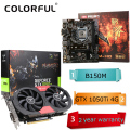 Colorful igame 1050ti gpu nvidia geforce gtx 4 gb gddr5 128bit placa de vídeo placa gráfica + motherboard machado de batalha c. b150m-hd v2