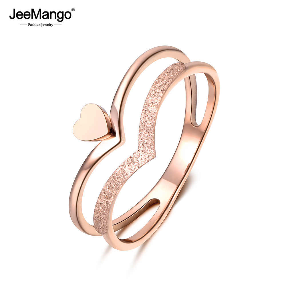 JeeMango Romantic Heart-shaped Crown Molde Ring Rose Gold Color Stainless Steel Jewelry Gift For Women Halka Anillo JR18140