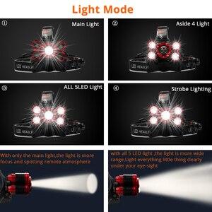 Image 5 - Led ヘッドランプ 5 * T6 のためヘッドライト 4 モードトーチヘッドランプ懐中電灯キャンプライト + 2*18650 バッテリー + ac/dc 充電器 + ボックス